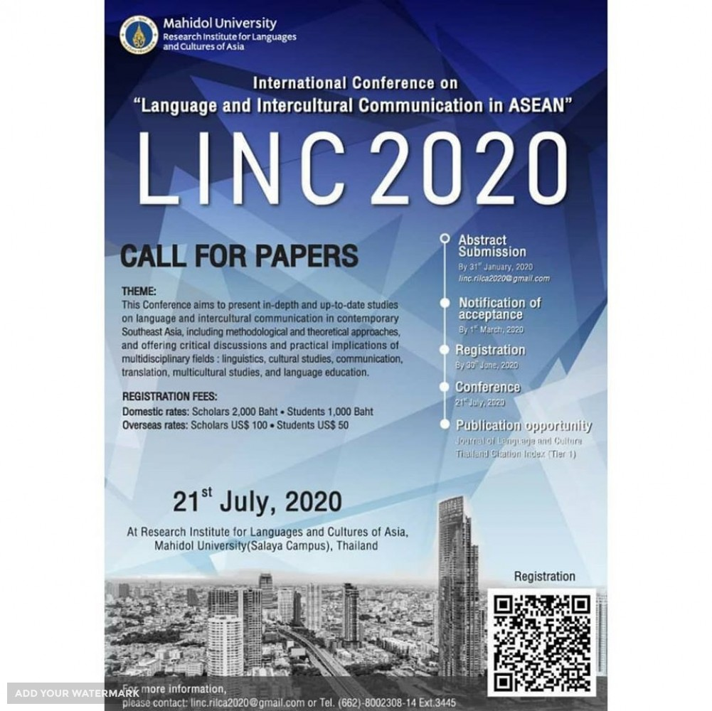 LINC 2020 (International Conference on Language and Intercultural Communication in ASEAN)